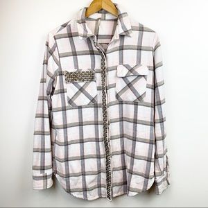 FREE PEOPLE Pink Plaid Flannel Shirt XS